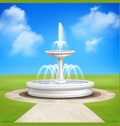 Fountain in garden vintage composition vector