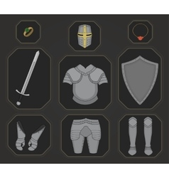 Game inventory Knight armor set Color vector image