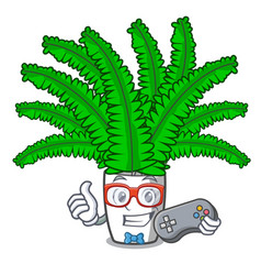 gamer cartoon natural green fern in the forest vector image