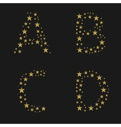Golden stars alphabet vector image