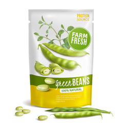 green beans package realistic vector image