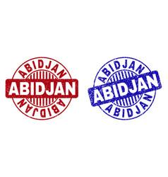 grunge abidjan textured round stamp seals vector image