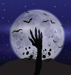 Halloween background with zombie hand vector