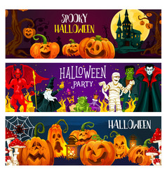Halloween pumpkin horror monster greeting banner vector