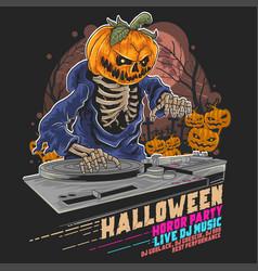 halloween pumpkin zombie dj music party vector image