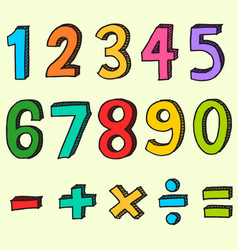 hand drawn colorful numbers doodle numbers vector image