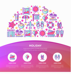 holiday concept in half circle with thin line vector image