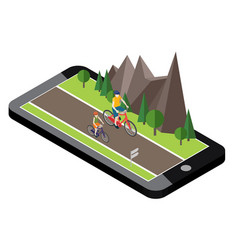 Isometric countryside summer road mobile geo vector