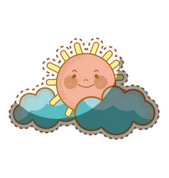 Kawaii sun with clouds icon vector