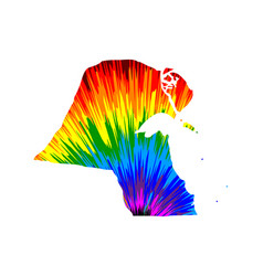 Kuwait - map is designed rainbow abstract vector