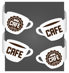 left and right side signs - cafe vector image