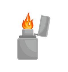 lighter with burning flame on vector image