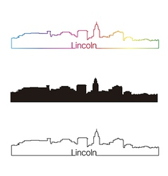 Lincoln skyline linear style with rainbow vector image