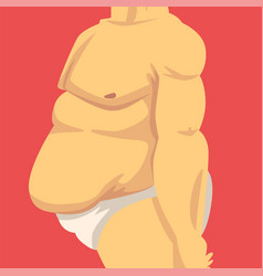 Male torso with fat belly side view obesity and vector