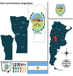 Map of san luis province argentina vector
