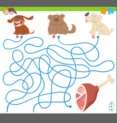 Maze game with cartoon dogs and meat vector