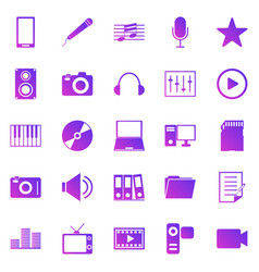 media gradient icons on white background vector image