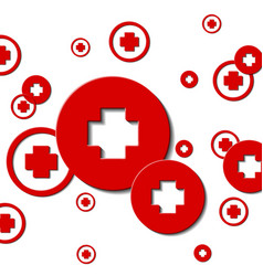 Medical cross in a red circle vector