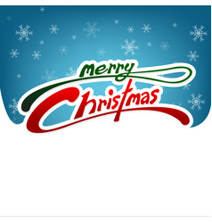 merry christmas card white and blue background vector image