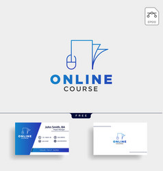 Mouse book line online learning line logo vector