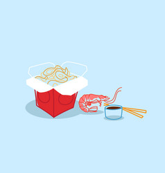 noodles ramen opened takeout box with soy sauce vector image