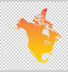 North america map colorful orange vector