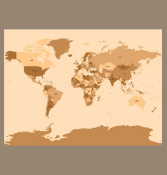 Old vintage or retro style map of world political vector