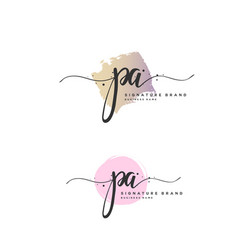 p a initial letter handwriting and signature logo vector image