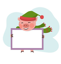 pig hold board with copy space vector image