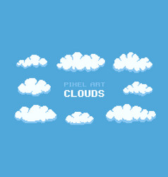 Pixel art clouds vector