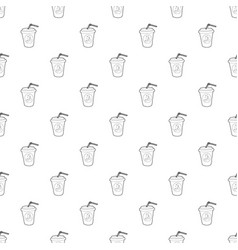 Plastic cup of limonade icon outline style vector