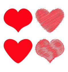 red heart icon set different shape happy vector image