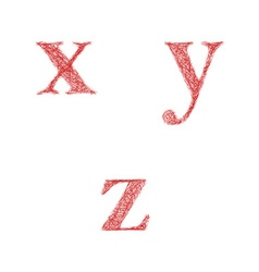 Red sketch font set - lowercase letters x y z vector image