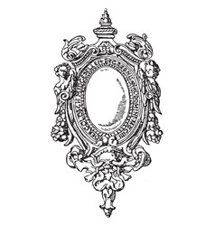 Renaissance strap-work frame have foliage or vector