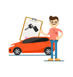 rent car business concept with smiling dealer vector image