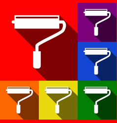 roller sign set of icons vector image
