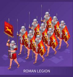 Roman legion isometric icons vector