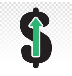 Salary raises or dollar rises flat icon vector
