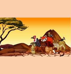 Scene with wild animals in savanna field vector