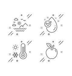 Sea mountains weather thermometer and water drop vector