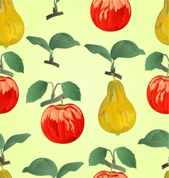 Seamless texture red apple with pear vector image