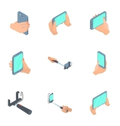 Selfie mobile phone icons set cartoon style vector