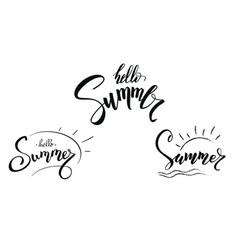 set design calligraphic text summer vector image