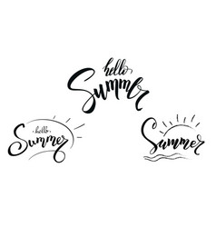 set of design of calligraphic text summer vector image