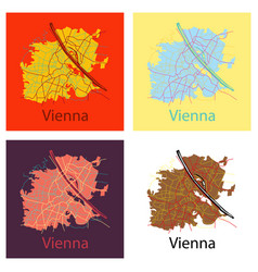 Set of flat map of the city of vienna austria vector
