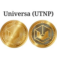 Set of physical golden coin universa utnp vector