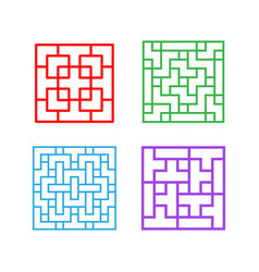 Set of square chinese pattern window frame vector