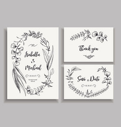 Set wedding cards with leaves herbs and flowers vector