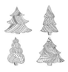 Set with four isolated patterned christmas trees vector
