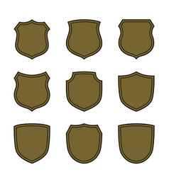 shield flat icons emblem set vector image